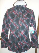 Roxy Junior Rhubarb Crumble Sherpa Trim Jacket Black Plaid XS NWT