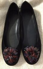 NEW IN BOX~WOMEN'S SHOES~BLACK SUEDE~FLEXX MR NICE FLAT SHOES FLORAL~SIZE 9