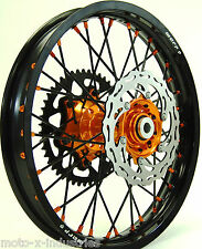 "ORANGE HUB & NIPPLE MX WHEEL SET KTM BLACK 18"" 21"" RIMS BRAKE ROTORS SPROCKET BO"