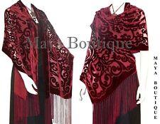 Maya Matazaro Shawl Wrap Scarf Burnout Velvet Art Nouveau Deep Red Fringed