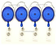 100 RETRACTABLE REEL KEY ID CARD BADGE HOLDER CARABINER STYLE TRANSLUCENT BLUE
