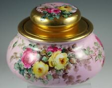 Hand Painted Rose Design Jar  bowl with gold rim