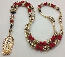 rosary with the Virgin of Guadalupe with red crystal ball and 14k gold filled