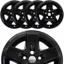 "4 BLACK 2007-2016 Jeep Wrangler 17"" Wheel Skins Hub Caps Bolt On Full Rim Covers"