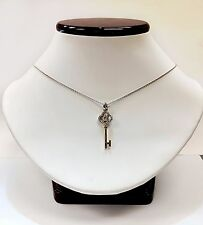 "18k White Gold ""Key to My Heart"" Pendent with Diamonds and Chain"