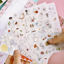 6 Sheets Cute Rabbit Diary Card Calendar Sticker Label  Crafts Scrapbooking