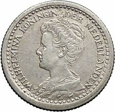 1918 Netherlands Queen WILHELMINA 10 Cents Wreath Authentic Silver Coin i49126