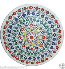 "30"" en marbre blanc café center table top multi stone inlay mosaïque décoration H2936A"