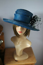 royal blue black & white ladies occasion hat wedding hat by failsworth