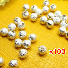 100pcs Spacer Beads Findings Stardust Silver Plated Base Round 4mm for Making AD
