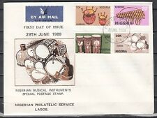 """ Nigeria, Scott cat. 545-548. Native Music Instruments on a First Day Cover."