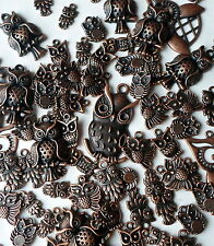 25 X Mixed Vintage Antique Red Copper Mixed Size Owls Charms/Beads/Pendants CH29