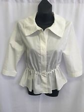 Akris Punto White Button Up Blouse Size 8