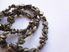 "4-5mm Rough Nugget Genuine Pyrite Semi Precious Gemstone Beads - 15"" Strand"