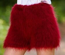 BURGUNDY RED Hand Knit Mohair Pants Fuzzy Soft Handmade Shorts SUPERTANYA S M L