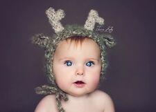 Christmas Fluffy Deer reindeer bonnet, hat. Photo photography prop. Newborn.