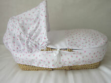 BABY OR REBORN MOSES BASKET 3 PIECE BEDDING SET COVER HOOD AND QUILT