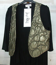 Joseph Ribkoff 10 BNWT Fabulous Mock 2 Pc. Waterfall Black Top & Gold Waistcoat
