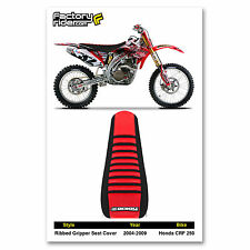 2004-2009 HONDA CRF 250 SEAT COVER Ribbed Black & Red/Black Ribs by Enjoy MFG