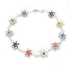 3D Multi Color Star of David Evil Eye 925 Sterling Silver Luck Bracelet 7.5""