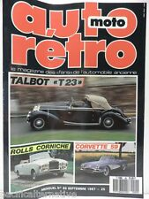 Revue AUTO RETRO moto magazine n° 85  - septembre 1987 collection talbot T23