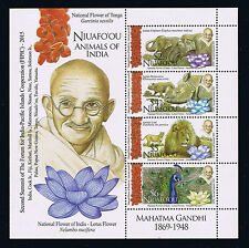 Niuafo'ou - 2016 Gandhi and Animals of India Postage Stamp Souvenir Sheet