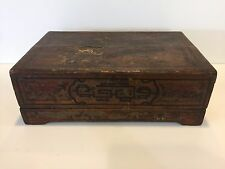 """Antique Chinese Handpainted Wooden Wedding Box, 17 1/4"""" x 11"""" x 6"""" High"""