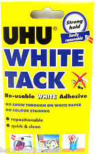 UHU White Tack Blue Tac Re-usable Repositionable White Adhesive Putty Strong New