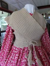 Victorian Attire Civil War Costume Hand Crochet Sontag One Sz Shawl Tan New