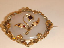 Gold Garnet and Split Pearl Chalcedony Brooch Fine Jewellery