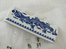 2 JAPANESE SUMI WRITING PAINTING BLUE DRAGON WHITE BRUSH STAND REST CRAFT TOOL