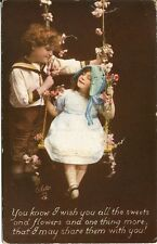 Tuck's Photo Oilette When The Heart is Young Postcard #514 Boy & Girl on Swing