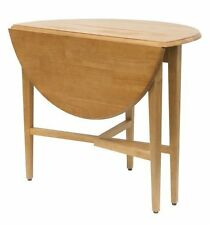 Folding Round Table Dining Kitchen Wooden Drop Leaf Studio Furniture Cards Games