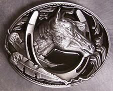 Pewter Belt Buckle animal Horse Head & Horseshoe NEW