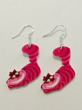 Alice In Wonderland Cheshire Cat Earrings HANDMADE PLASTIC CHARMS Mad Hatter