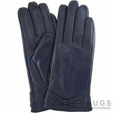 LADIES BUTTER SOFT PREMIUM REAL LEATHER GLOVES WITH BOW & 3 POINT STITCH DESIGN