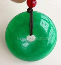 Chinese Natural Green Jade Hand-carved Harmony Lucky Pendant + Rope Necklace