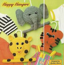 Crochet Pattern ~ Kids Hangers Giraffe, Tiger & Elephant ~ Instructions