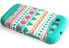 For Samsung Galaxy SIII S3 - HARD & SOFT RUBBER HYBRID CASE TURQUOISE PINK AZTEC