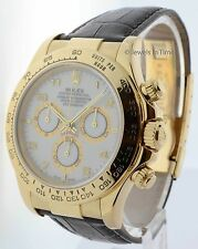 Rolex Daytona Chronograph 18K Yellow Gold White Dial Mens Watch 116518