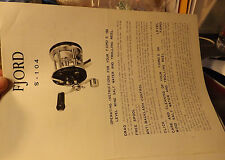VINTAGE FJORD S-104 TROLLING FISHING REEL PAPER W/ SCHEMATICS