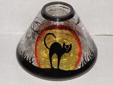 YANKEE CANDLE BLACK CAT CRACKLE GLASS JAR CANDLE SHADE NWTS VERY RARE & HTF