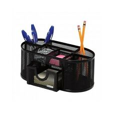 Desk Mesh Organizer Black Office Desktop Holder Metal Pen Storage Pencil Tray