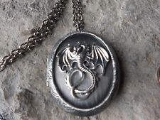DRAGON ANTIQUED SILVER LOCKET - DUNGEON AND DRAGONS, UNIQUE, QUALITY