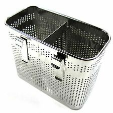 2 Divided Square Stainless Steel Perforated Cutlery Holder Sink Storage Basket