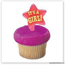 BABY SHOWER CupCake TOPPER Party It's a GIRL Party Cake Decoration Pink Kit  x12