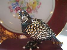 QUAIL ~ BEJEWELED TRINKET BOX   #3752