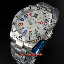 40mm Bliger white dial ceramic bezel date window automatic mens watch P106