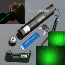 Military Adjustable Focus Green Laser Pointer 5mW + Charger + Battery + Star Cap
