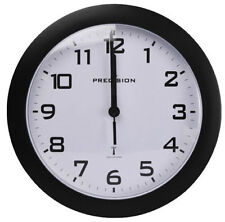 Precision Radio Controlled Analogue Wall Clock Black PREC0061 Battery Operated.